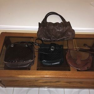 Vintage 4 leather  bags brown and black color